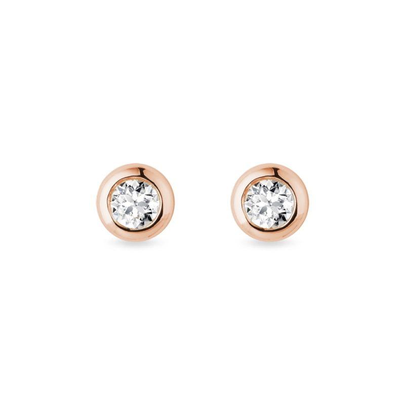 Bezel pecky z růžového zlata s 3mm diamanty KLENOTA