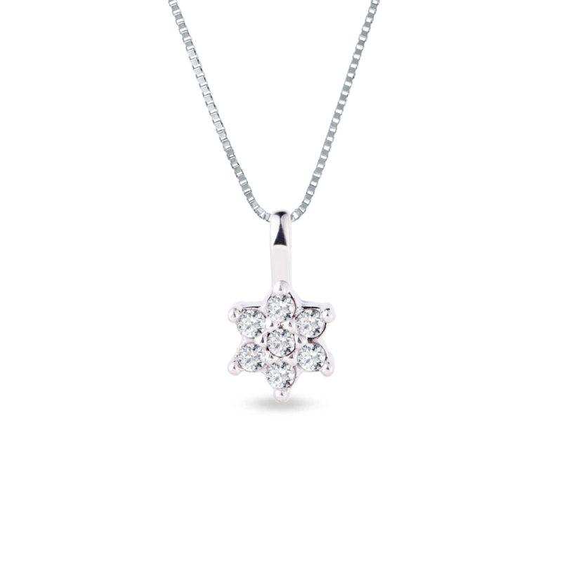 Briliantový náhrdelník ve zlatě ve tvaru kytičky KLENOTA