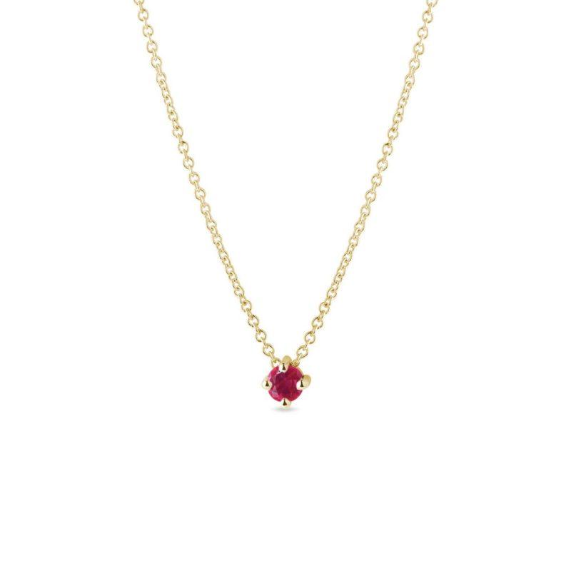 Jemný zlatý náhrdelník s kulatým rubínem KLENOTA