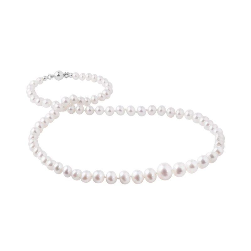 Kónický perlový náhrdelník se zapínáním v bílém zlatě KLENOTA