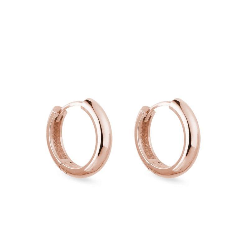 Minimalistické náušnice kruhy z růžového zlata KLENOTA