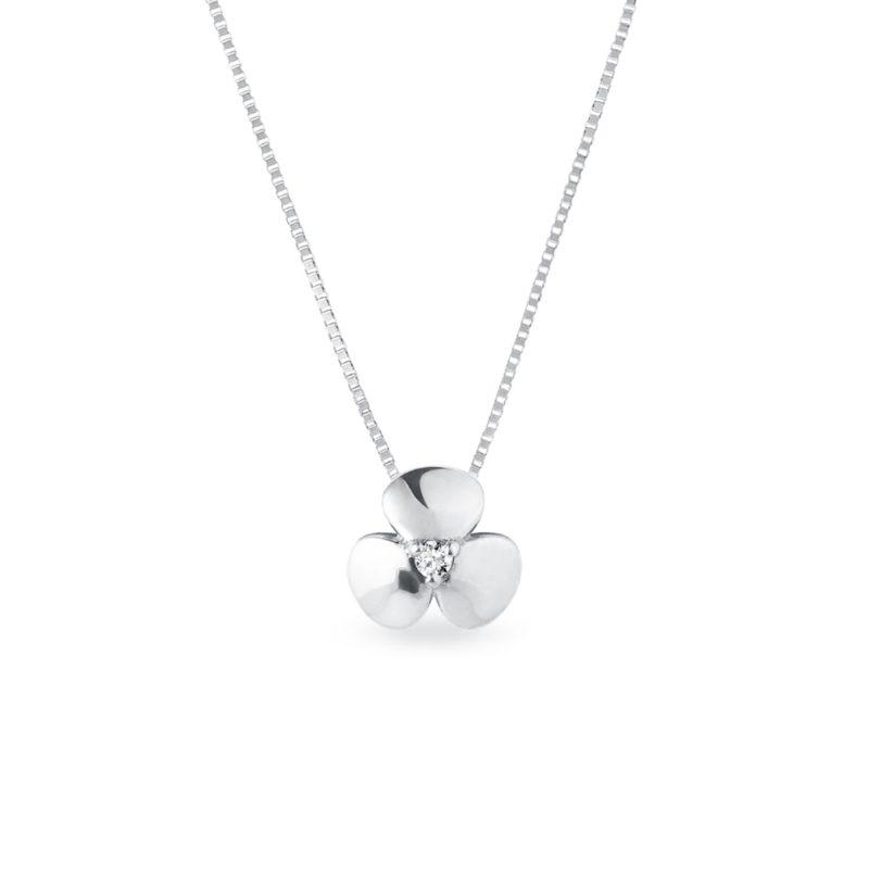 Náhrdelník kytička z bílého zlata s diamantem KLENOTA