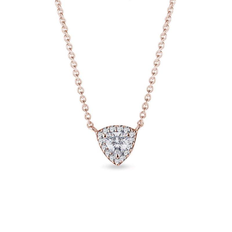 Náhrdelník s diamantem trilion v růžovém zlatě KLENOTA