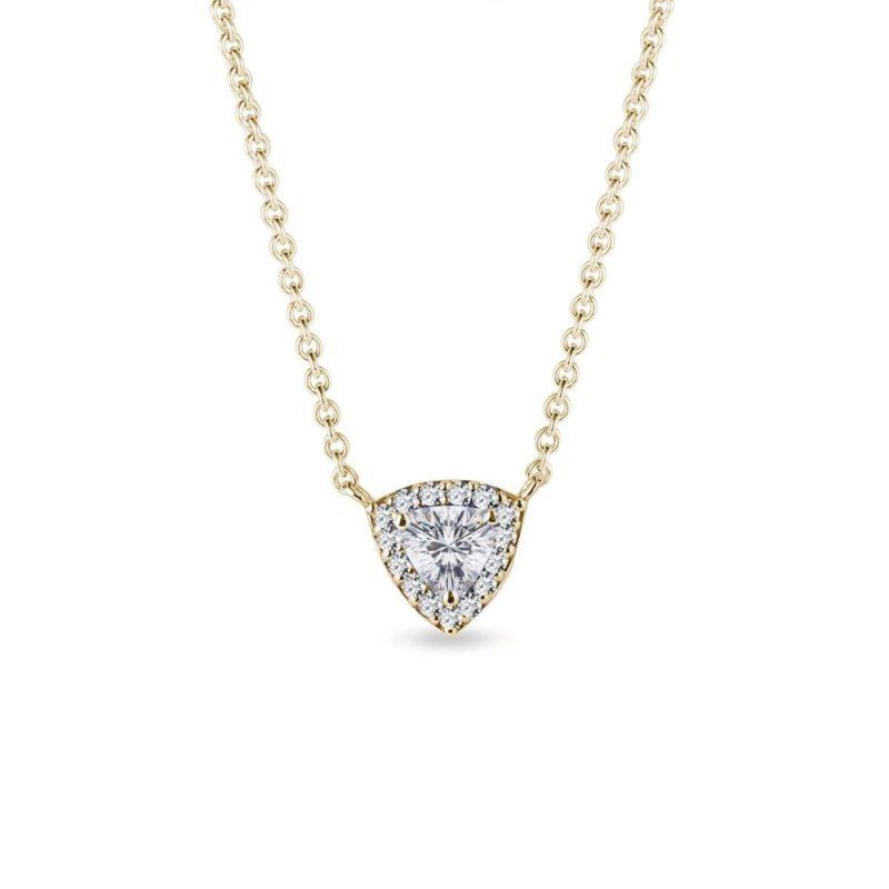 Náhrdelník s diamantem trilion ve zlatě KLENOTA