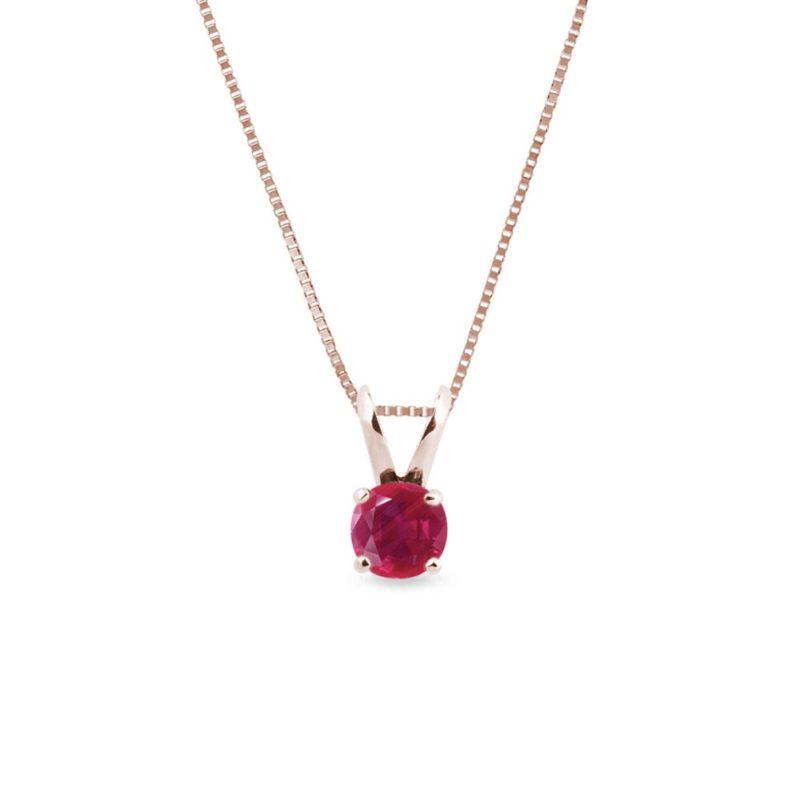 Náhrdelník s rubínem v růžovém zlatě KLENOTA