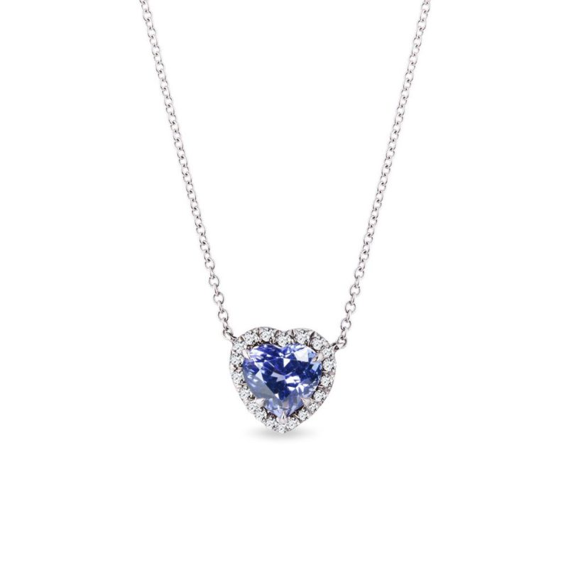 Náhrdelník srdce s tanzanitem a diamanty v bílém zlatě KLENOTA