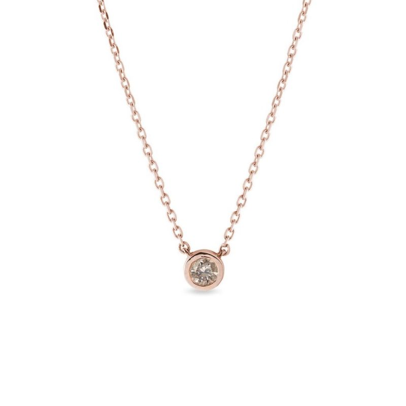 Náhrdelník v růžovém zlatě s champagne diamantem KLENOTA