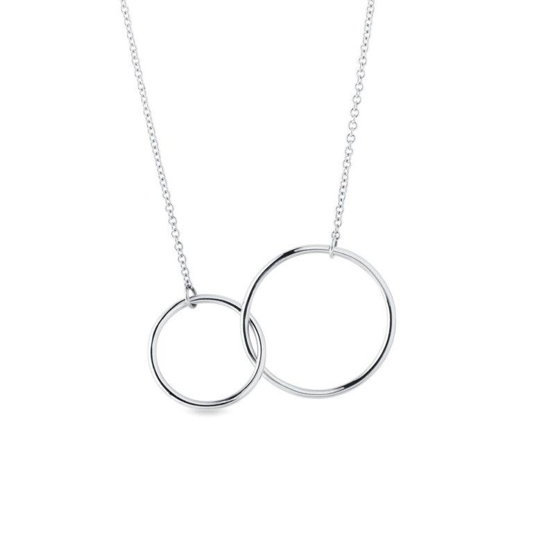 Náhrdelník z bílého zlata se dvěma kroužky KLENOTA