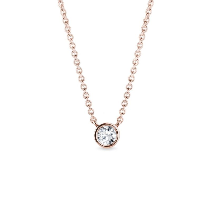 Náhrdelník z růžového zlata s bezel diamantem KLENOTA