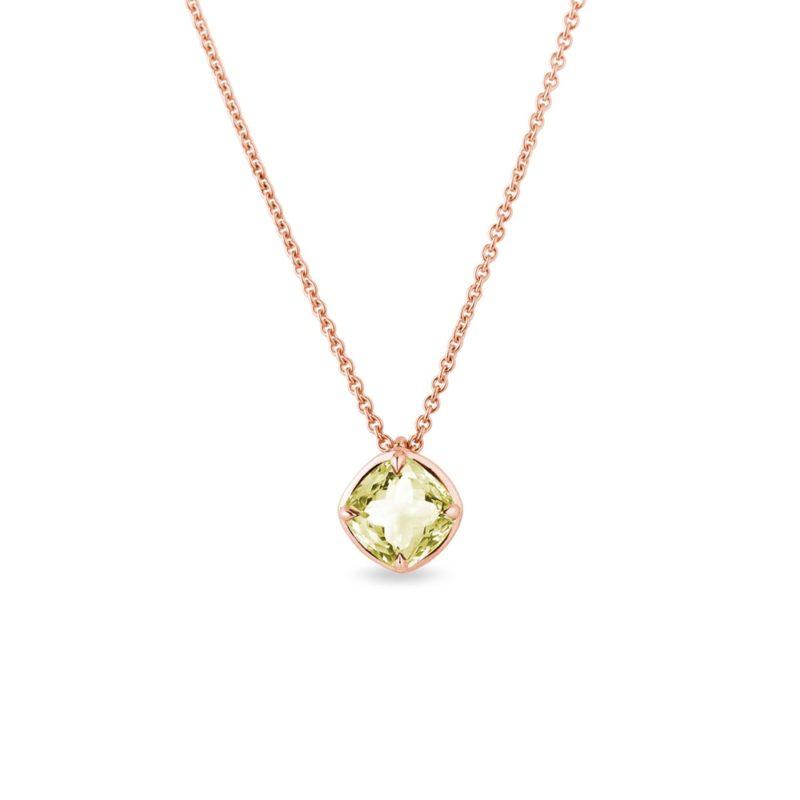 Náhrdelník z růžového zlata s lemon quartzem KLENOTA