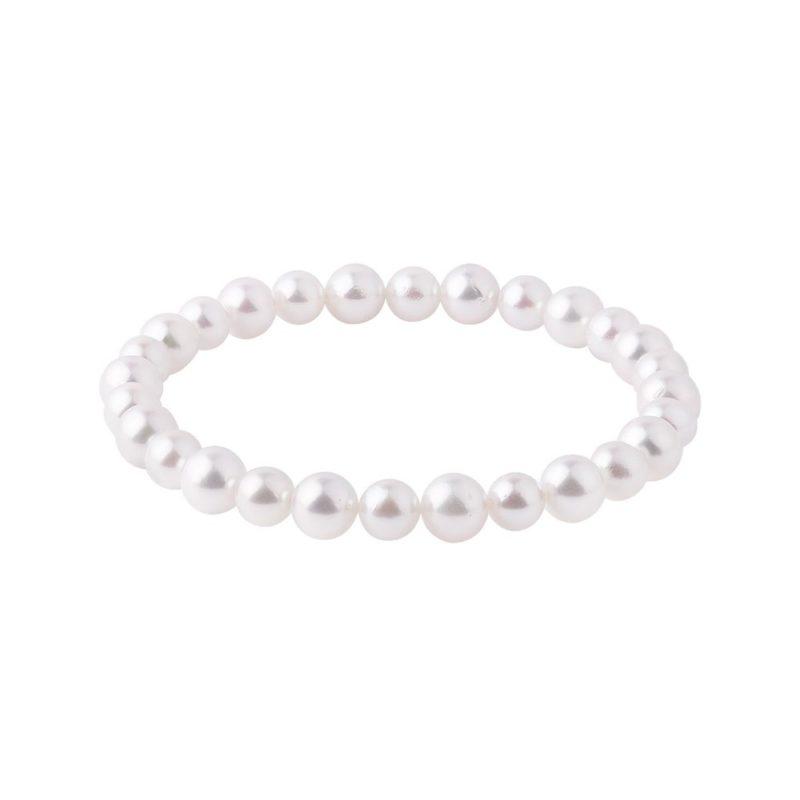 Náramek s perlami Akoya na gumičce KLENOTA