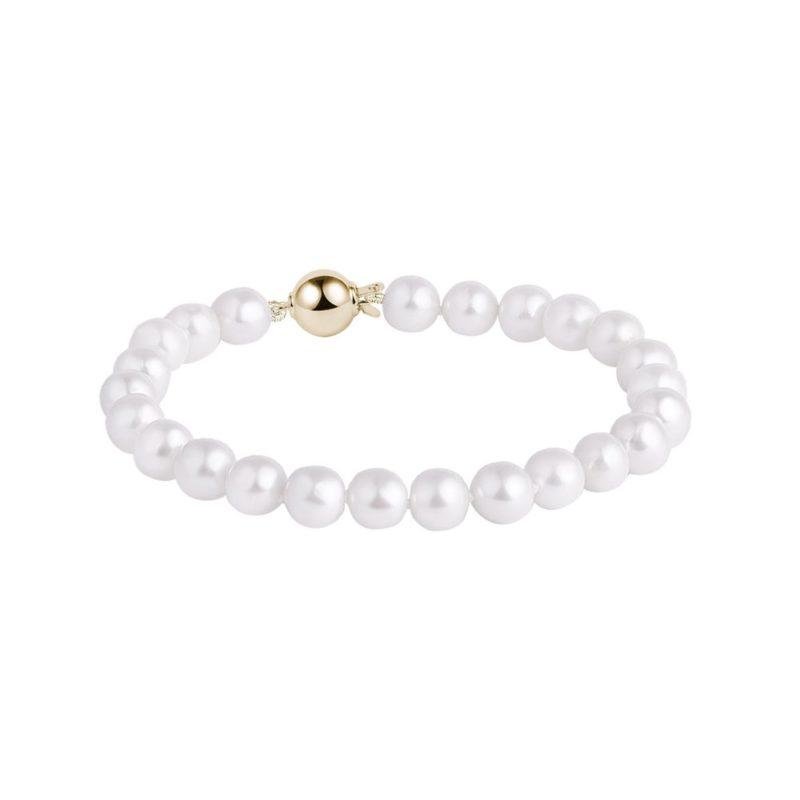 Náramek z bílých perel Akoya ve zlatě KLENOTA