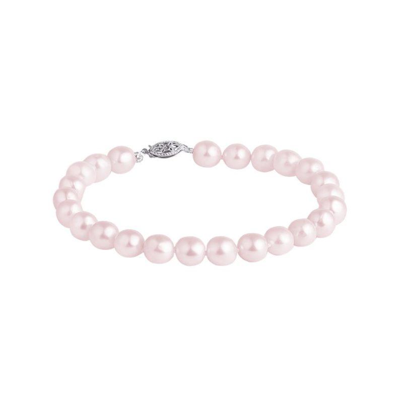 Náramek z růžových perel v bílém zlatě KLENOTA