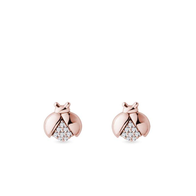 Náušnice berušky s diamanty v růžovém zlatě KLENOTA