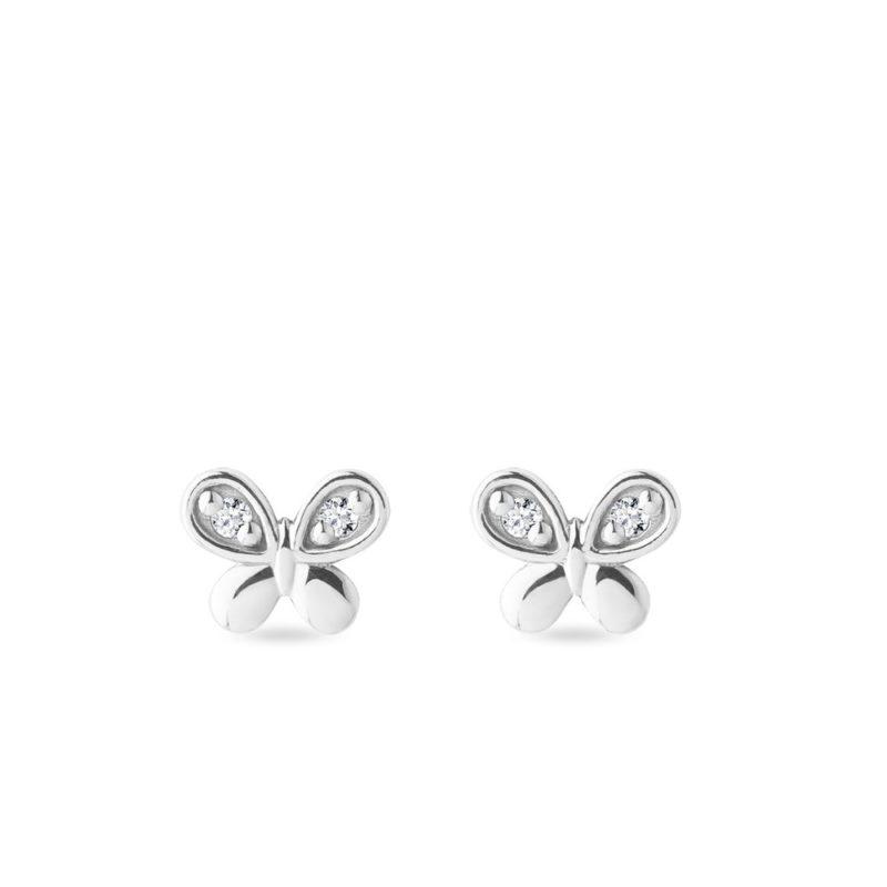 Náušnice motýlci s brilianty v bílém zlatě KLENOTA