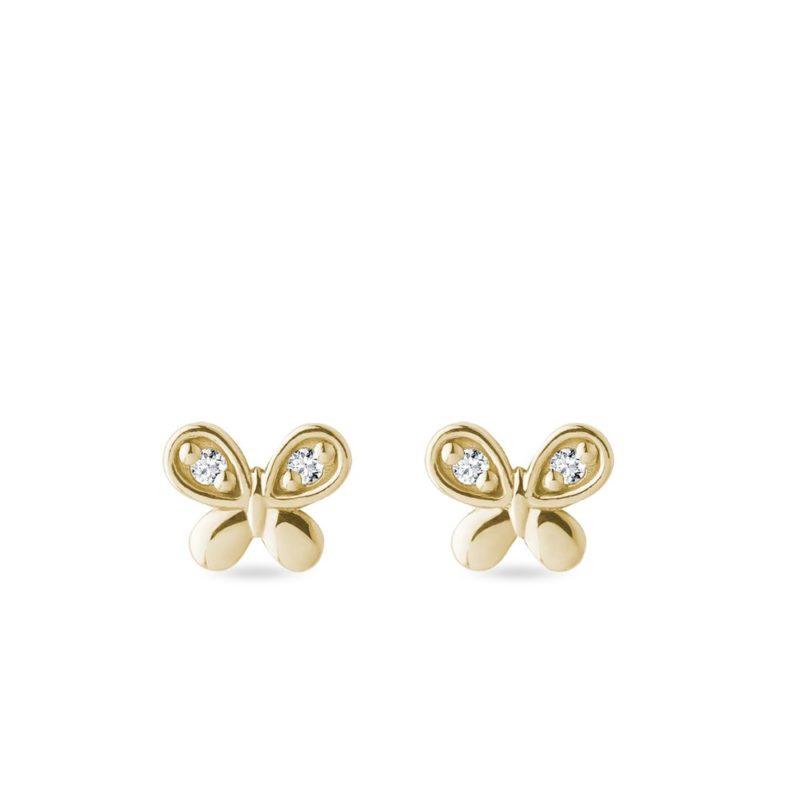Náušnice motýlci s brilianty ve zlatě KLENOTA