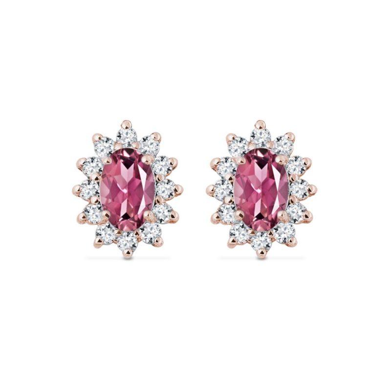 Náušnice s diamanty a turmalíny v růžovém zlatě KLENOTA