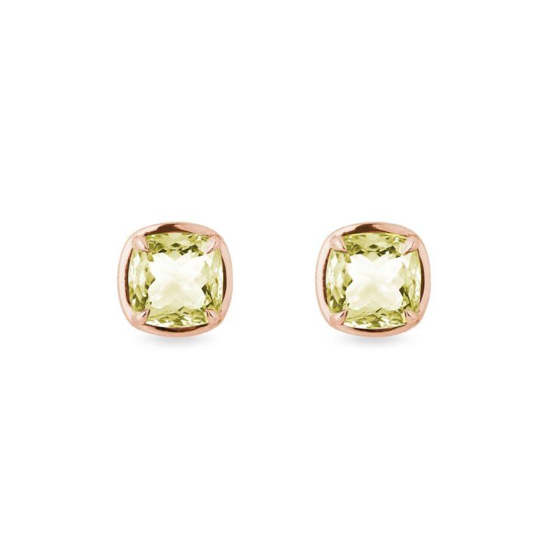 Náušnice s lemon quartzem v růžovém zlatě KLENOTA