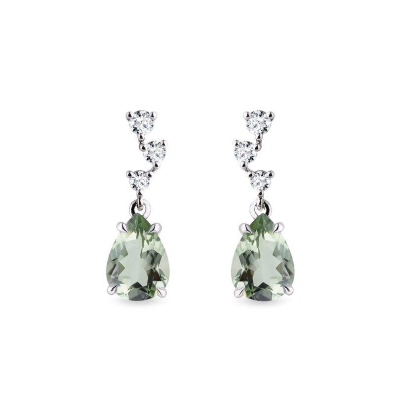 Náušnice se zeleným ametystem a diamanty v bílém zlatě KLENOTA