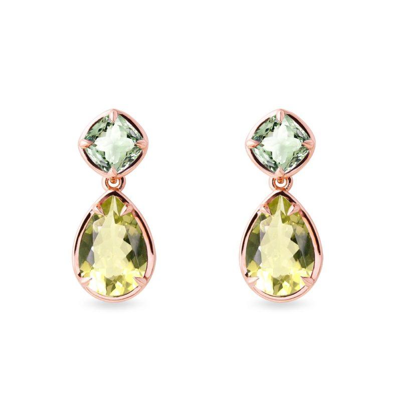 Náušnice se zeleným ametystem a lemon quartzem KLENOTA