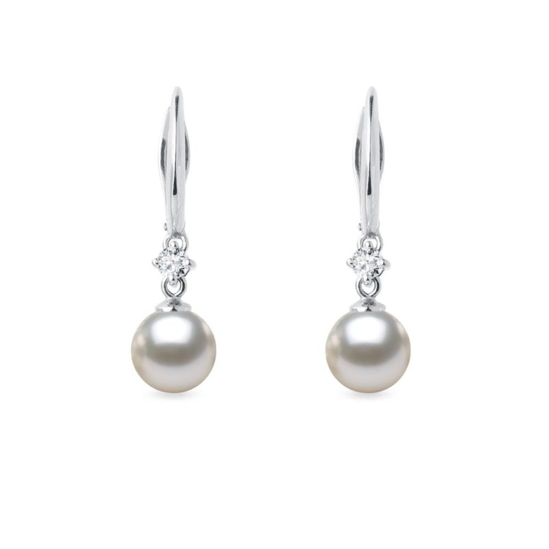 Náušnice z bílého zlata s Akoya perlou a diamanty KLENOTA