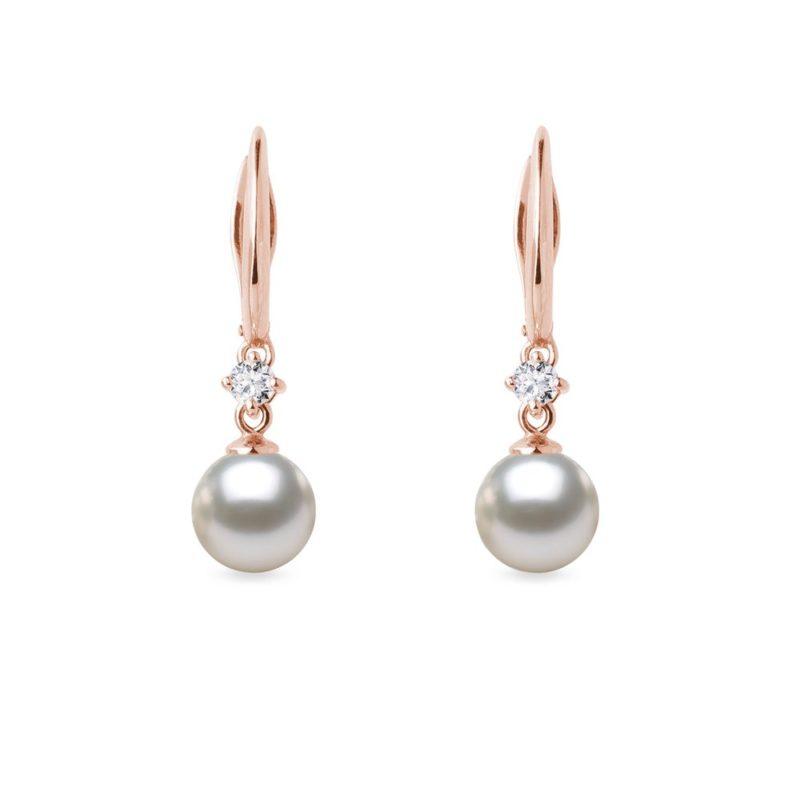 Náušnice z růžového zlata s Akoya perlou a diamanty KLENOTA