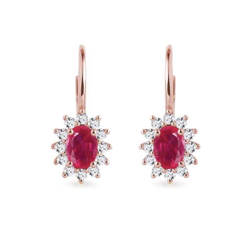 Náušnice z růžového zlata s rubíny a diamanty KLENOTA