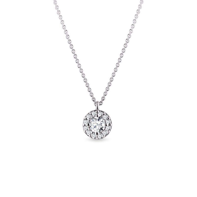 Originální náhrdelník s diamanty v bílém zlatě KLENOTA