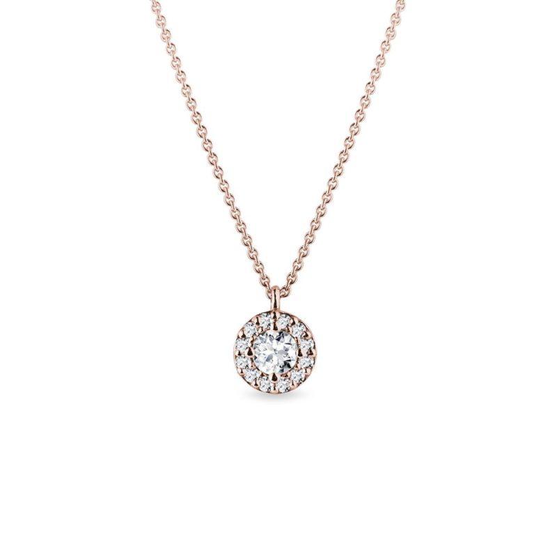 Originální náhrdelník s diamanty v růžovém zlatě KLENOTA
