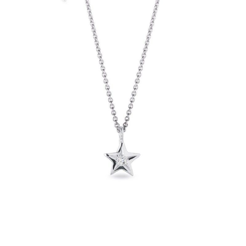 Přívěsek hvězdička s diamantem v bílém zlatě KLENOTA
