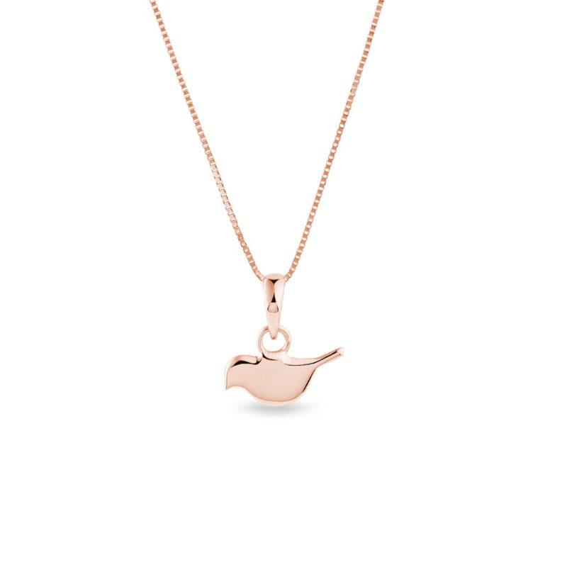 Přívěsek ptáček z růžového zlata KLENOTA