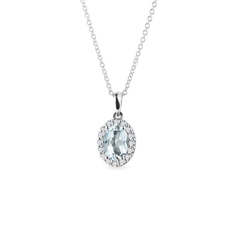 Přívěsek s akvamarínem a diamanty v bílém zlatě KLENOTA