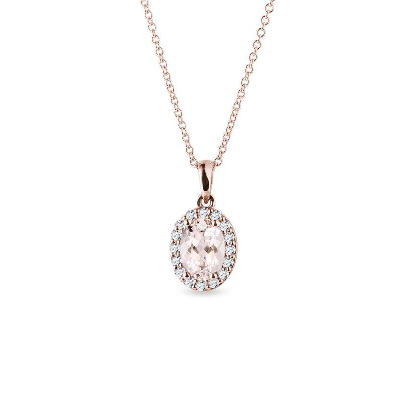 Přívěsek s morganitem a diamanty v růžovém zlatě KLENOTA