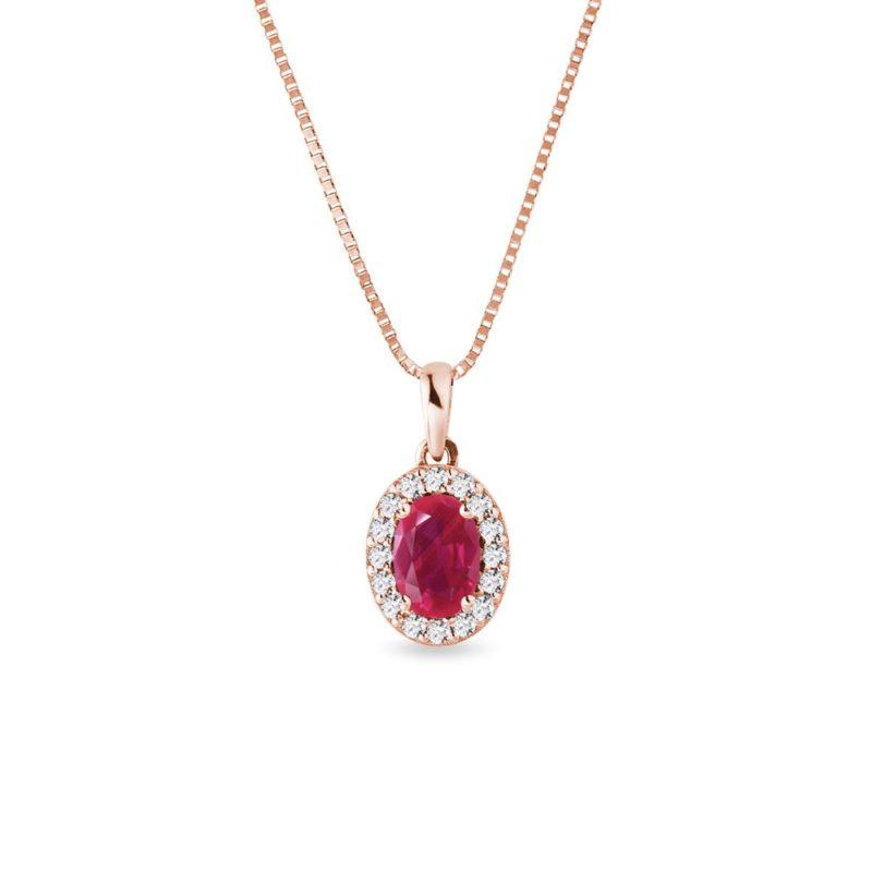 Přívěsek s rubínem a diamanty v růžovém zlatě KLENOTA