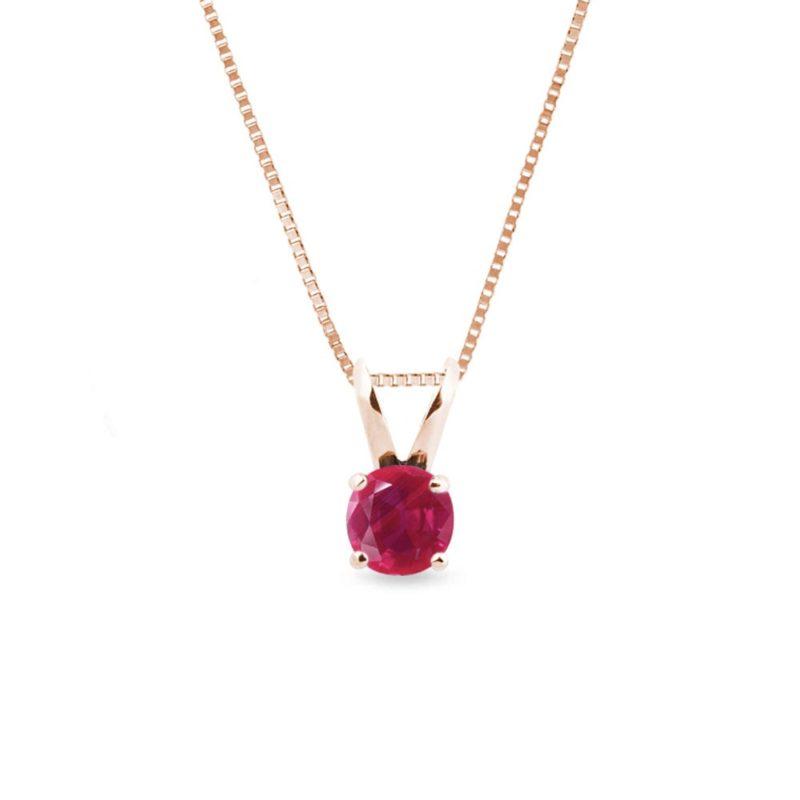 Přívěsek s rubínem v růžovém zlatě KLENOTA