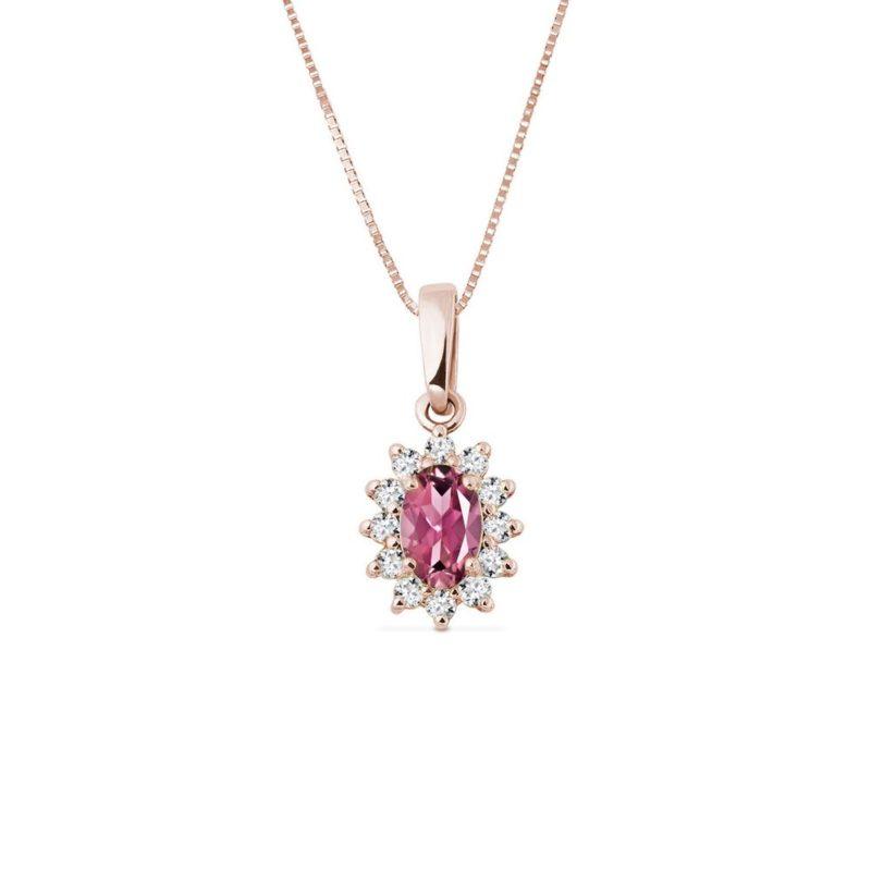 Přívěsek s turmalínem a diamanty v růžovém zlatě KLENOTA