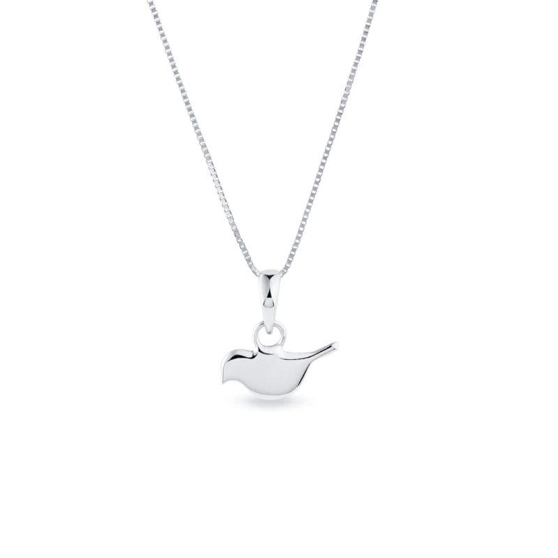 Přívěsek ve tvaru ptáčka z bílého zlata KLENOTA