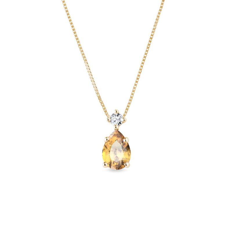 Přívěsek ze zlata s diamantem a citrínem KLENOTA