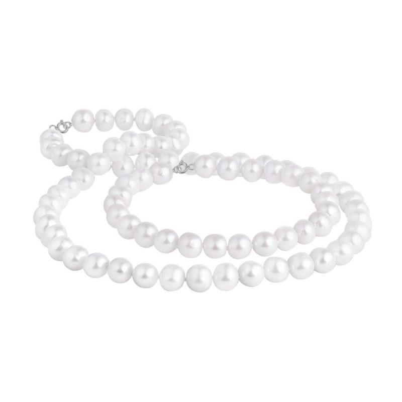 Perlová souprava náramku a náhrdelníku ve stříbře KLENOTA
