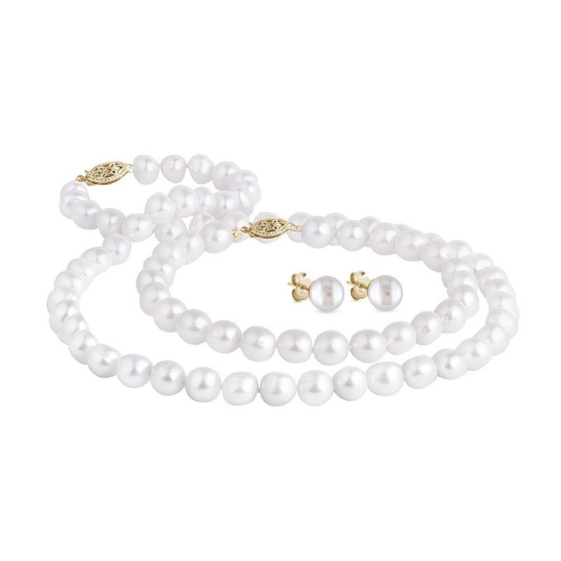 Perlová zlatá souprava šperků KLENOTA
