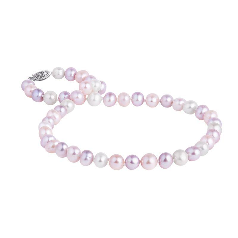 Perlový náhrdelník více barev v bílém zlatě KLENOTA