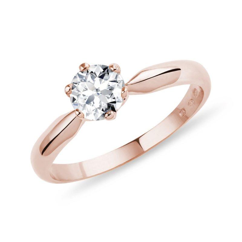Prsten s půlkarátovým briliantem v růžovém zlatě KLENOTA