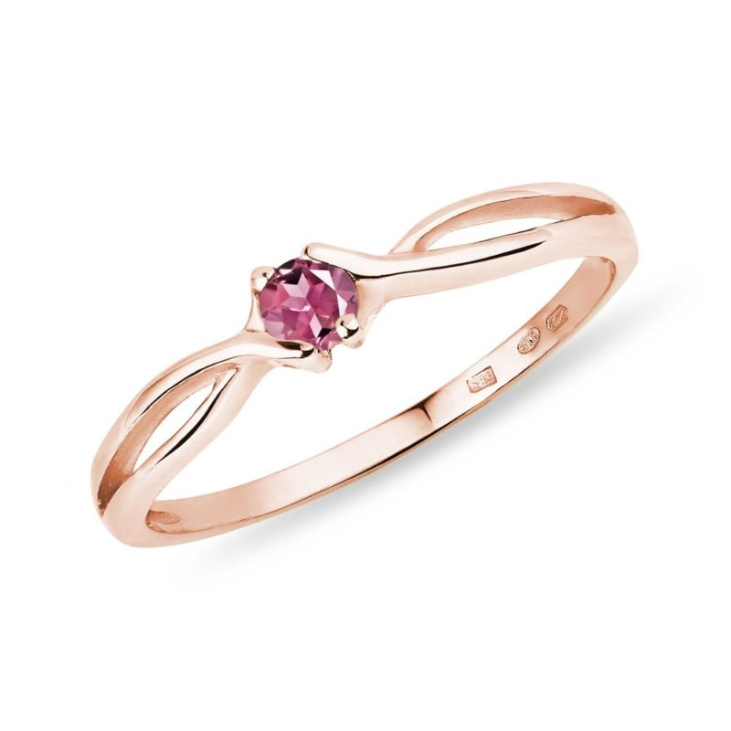 Prsten z růžového zlata s růžovým turmalínem KLENOTA