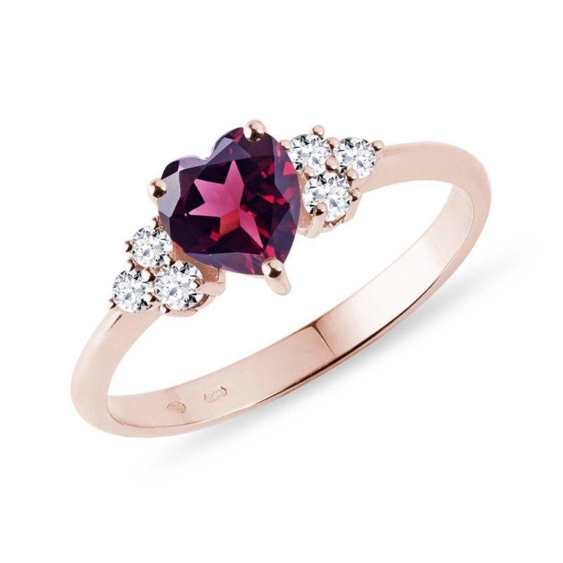Prsten z růžového zlata s rhodolitem a diamanty KLENOTA