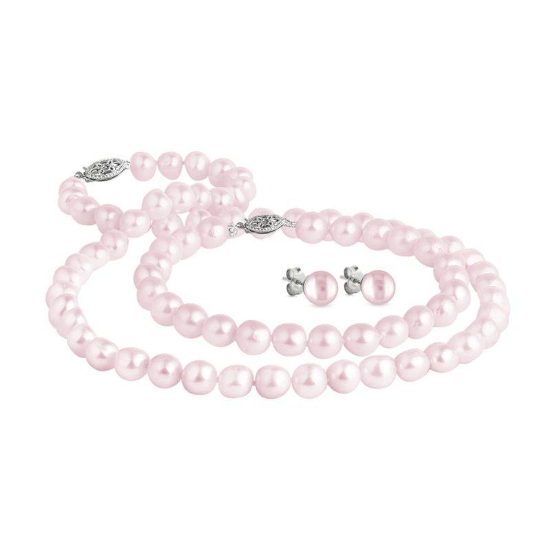 Růžová perlová souprava v bílém zlatě KLENOTA
