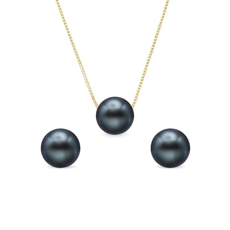 Set náušnic a náhrdelníku s tahitskými perlami KLENOTA