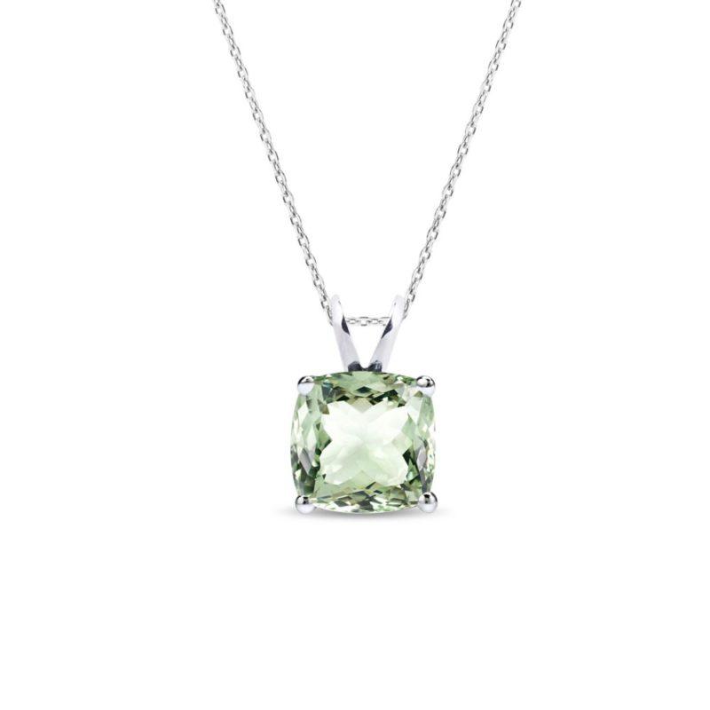 Stříbrný náhrdelník se zeleným ametystem KLENOTA