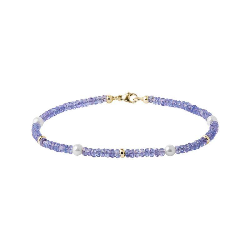 Tanzanitový náramek s perlami KLENOTA
