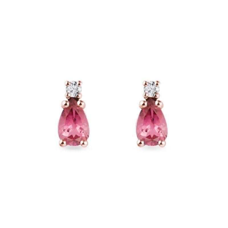 Turmalínové náušnice s diamanty v růžovém zlatě KLENOTA