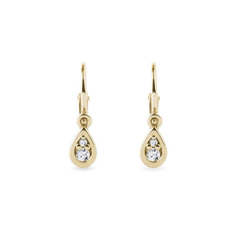 Zlaté dětské náušnice kapky s diamanty KLENOTA